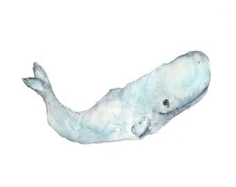 Whale painting, watercolor whale art, beach art, beach painting, beach decor, wildlife art, whale nursery art, sperm whale, - 10X8 print