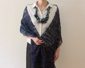 Knitted statement necklace with bamboo and textile beads, navy blue, white, turquoise, OOAK