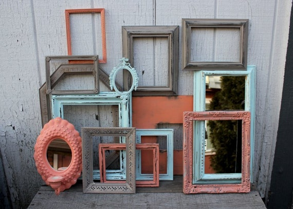 Set Of 14 Coral Aqua And Beige Painted Picture Frames Open