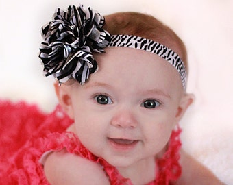 Baby Girl Zebra Print Flower Puff Headband