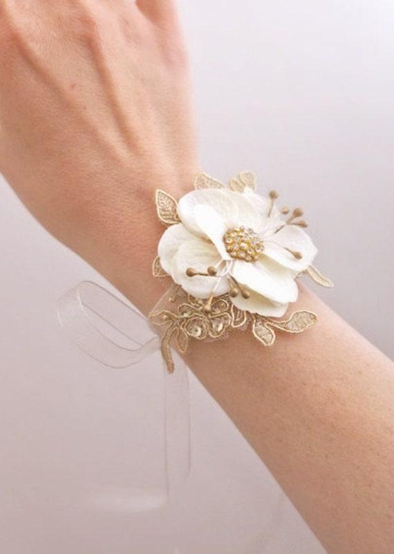 Bridal Flower Bracelet : Bridal flower wrist corsage wedding floral bracelet by