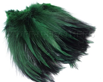 Rooster feathers MOSS GREEN, furnace hackle real feathers for millinery, jewelry making, crafts, fishing / 4-6 in (10-15 cm) long / F121-4