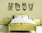 Asian wall decal four pack, Lucky cat, Chinese Lion, Buddha