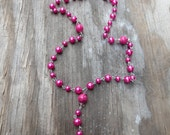 Christian Hot Pink Glass Pearl Rosary, Girl's Rosary, Women's Rosary-Only 18.50 with Shipping