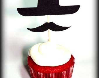 12 Sombrero and Mustache Cupcake Toppers- El Caballero- - Little Man Party- Cupcake Decorations- Fiesta cupcake toppers