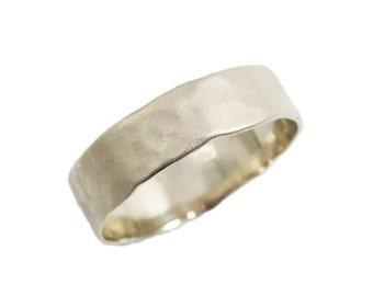 Matte gold wedding ring. Men wedding band. Hammered wedding band. 14K Hammered white gold wedding band. Unisex wedding ring.(gr-9303-297)