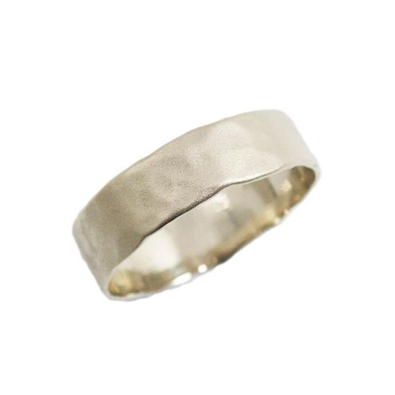 Matte Gold Wedding Ring Men Wedding Band Hammered Wedding
