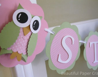Pink and Green Owl Name Banner - Owl Birthday Party Decorations - It's A Girl Custom Colors