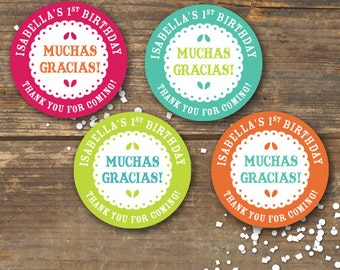 Fiesta Favor Tags or Gift Stickers Printable