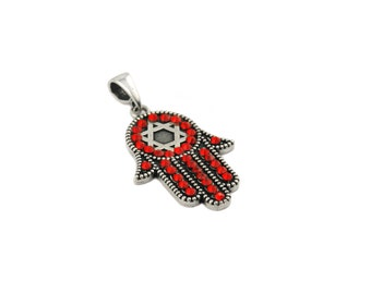 Free Domestic Shipping Sterling Silver Red Swarovski Crystal Khamsa Pendant Jewish, Religious, Hand, Protection, Evil Eye, Unique, Pendant