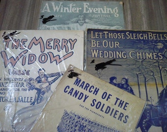 SALE Lot of 4- Vintage Sheet Music with Colorful Illustrations Circa 1900-1930 Christmas Pack
