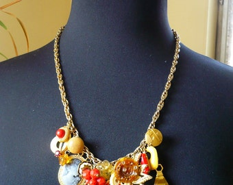 SALE Red and Gold Mess Necklace, Statement Necklace with a Variety of Vintage Charms, Comes with Pair of Earrings