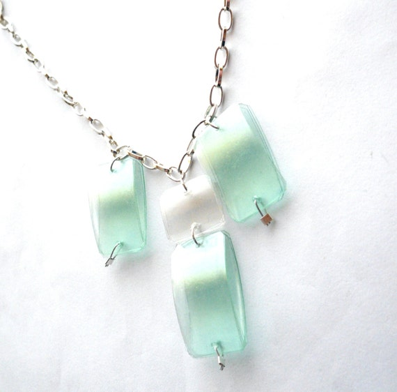 mint green statement necklace made of recycled by dekoprojects