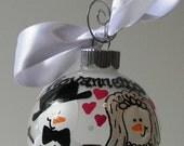 Custom Snowman Ornament, Personalized Wedding Ornament, Gift