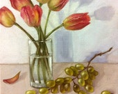 Original Oil Painting Tulips and Grapes