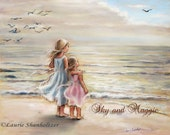 "Girls, Sisters, Beach, Personalized, Names, Haircolor added ""The Ocean's Lullaby"" by Laurie Shanholtzer"