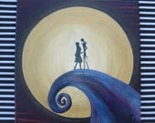 Nightmare Before Christmas Painting, Jack and Sally on hill, Jack Skellington and Sally silhouette, moon painting