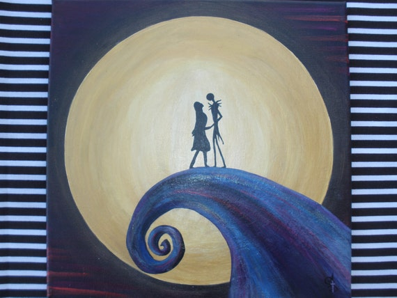 Nightmare Before Christmas Painting, Jack and Sally on hill, Jack ...