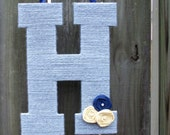 Yarn Letter - Monogram Wreath, Wall Hanging, 13 inches