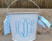 5 Qt Personalized Easter Bucket with blue monogram initials and matching  ribbon