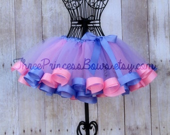 Pink and Light Purple Satin Ribbon Trim Tutu