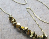 iridescent GOLD titanium coated crystals gold filled necklace