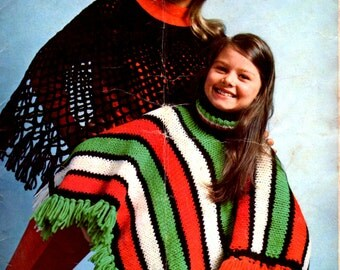 On Sale - Sirdar Knitting and Crochet Pattern No 9946 for Poncho Time  - Vintage 1970s