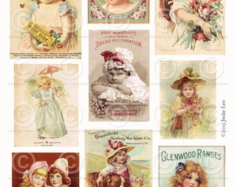 Printable Vintage Victorian Children Tradecard Scraps - Digital Collage Sheet as an instant Download File