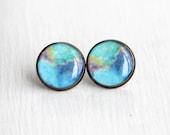 Nebula Jewelry, Space Earrings, Large Stud Earrings, Nerdy Earrings, NASA, Resin Earrings