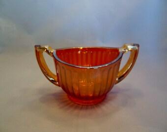 Marigold Carnival Glass Sugar Bowl Iridescent Ribbed Amber Bowl with Handles