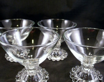 Boopie Berwick Clear Champagne Tall Sherbet Set of 4 Anchor Hocking Crystal Glasses