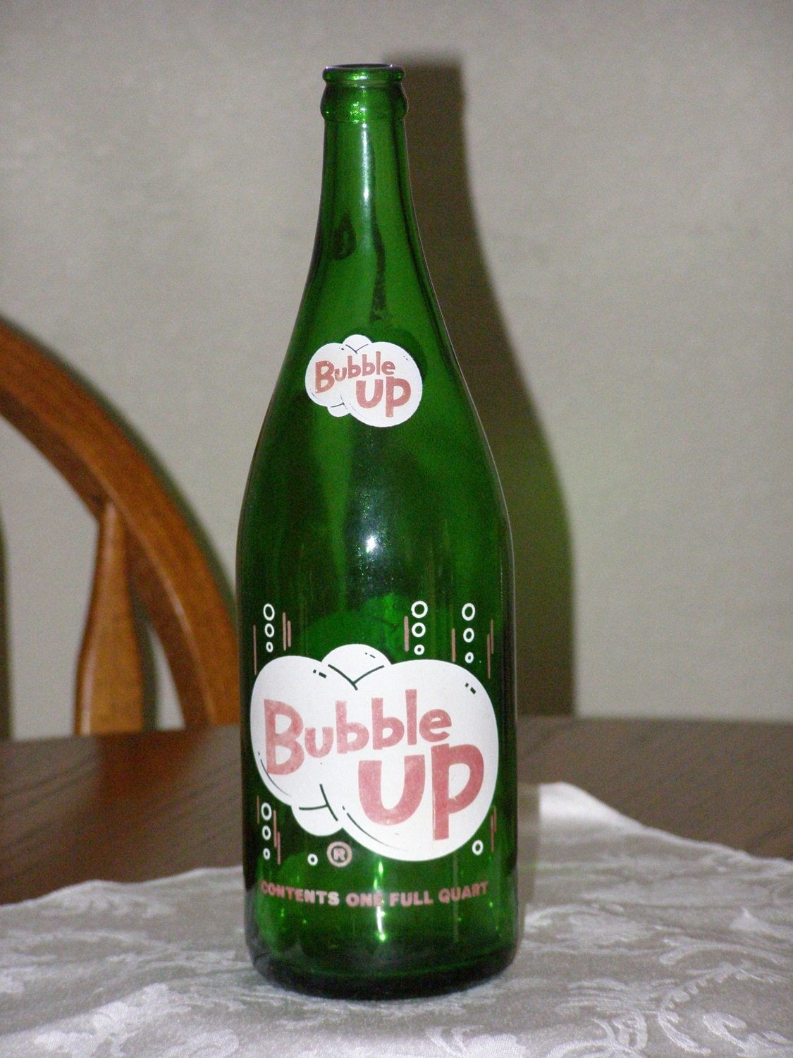 Vintage Bubble Up Quart Bottle Beauty Green Red By Parkie2