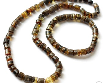 Set of Baltic Amber Necklace and Bracelet, Black Amber Beads, Unisex Necklace and Bracelet