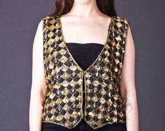 SALE 50% OFF 80s Vintage Sparkling Silk Vest in Black and Gold