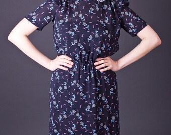 SALE 50% OFF 80s Vintage Sheer Lace Collar Dress in Black