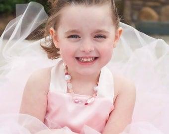Ballerina Costume Baby Pink Tutu Dress Floor Length Sewn Tutu Dress with Satin Corset Style Top and Satin Flower Hair Clip CUSTOMIZABLE