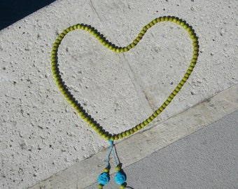 Handmade Green wood bead and Turquoise Buddha Mala necklace