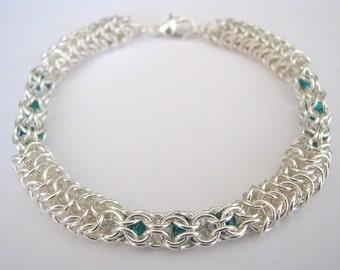 Ivy Trellis Chainmaille Czech Glass Beaded Bracelet