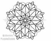 Mandala Color Page Coloring Page Printable Mandala Large JPEG File Art Drawn By Me, Rena - Instant Download Mandala Flower 1