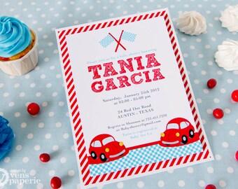 DIY PRINTABLE Invitation Card - Vintage Red Racing Car Baby Shower Invitation - BS807CA1a2