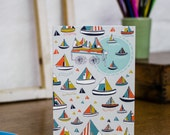 Boating in the Tuileries Gardens greetings card by Jessica Hogarth. Stationery showcasing illustrations of boats, inspired by Parisian parks