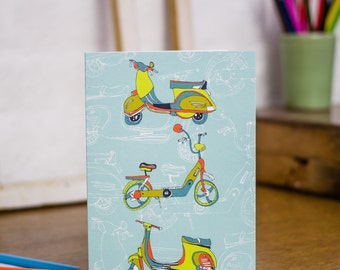 Scootering Around Town blank greetings card designed by Jessica Hogarth. Colourful stationery designed and printed in the UK.