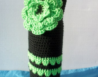 Black and Limelight Green Wine Tote