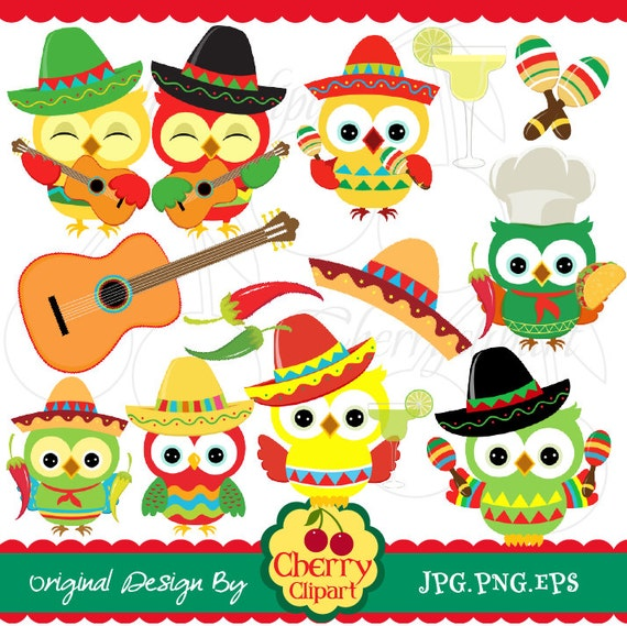 Cinco De Mayo Party Owls Digital Clipart Set Personal And