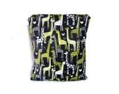 Giraffes in love wet bag waterproof cloth diaper zipper medium swim bathing suit pool beach girl grey yellow giraffe