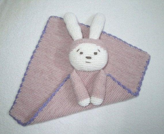 Bunny Blanket Buddy Knit Pattern : Bunny Lovie Security Blanket Hand Knit Buddy Blankie Baby