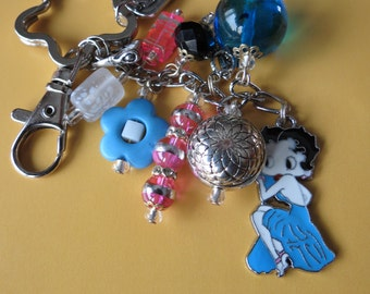 Betty Boop  Beaded keychain, purse charm.