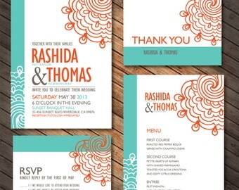 Turquoise And Orange Lace Wedding Printables Customized