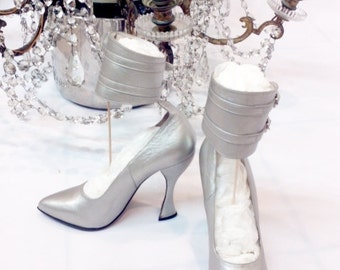 SALE Amazing Michel Perry high heels // metallic shoes // Michel Perry shoes // fashion shoes // couture shoes // 1980s-1990s