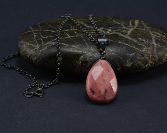 rhodonite teardrop pendant